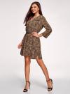 Платье вискозное с ремнем oodji #SECTION_NAME# (коричневый), 11900180B/48458/3729A - вид 6