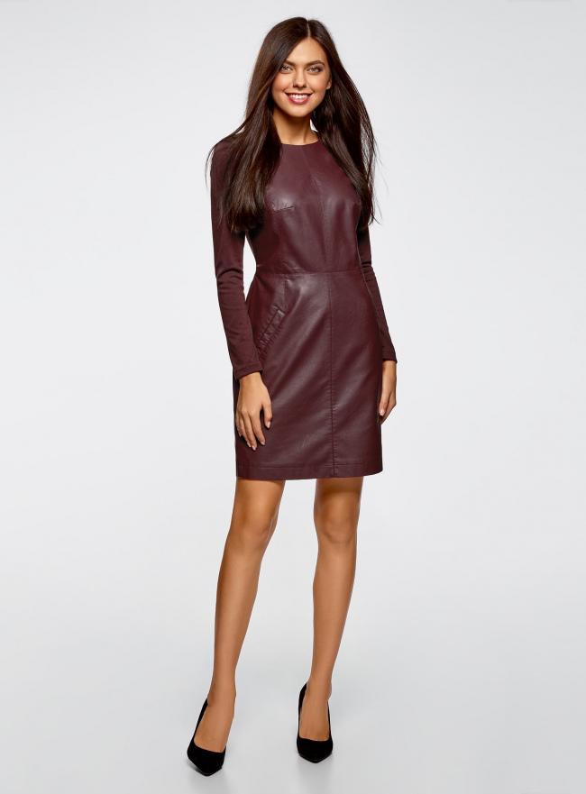 Платье из искусственной кожи комбинированное oodji для женщины (красный), 11902146/42008/4900N
