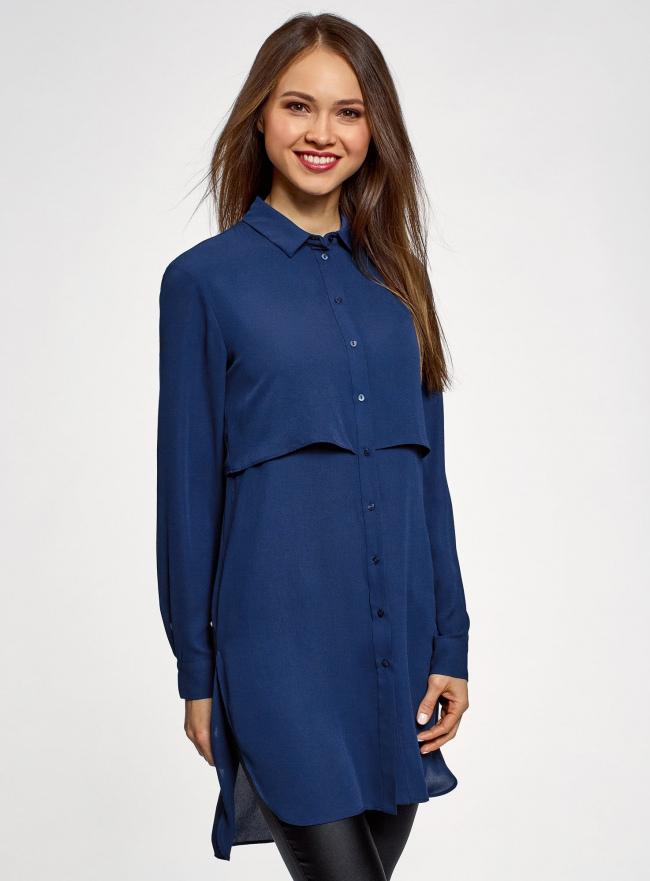 Платье-рубашка прямого силуэта удлиненное oodji для женщины (синий), 11411145/36215/7900N