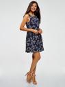 Платье из струящейся ткани с бантом на спине oodji #SECTION_NAME# (синий), 11900181-2B/35271/7940F - вид 6