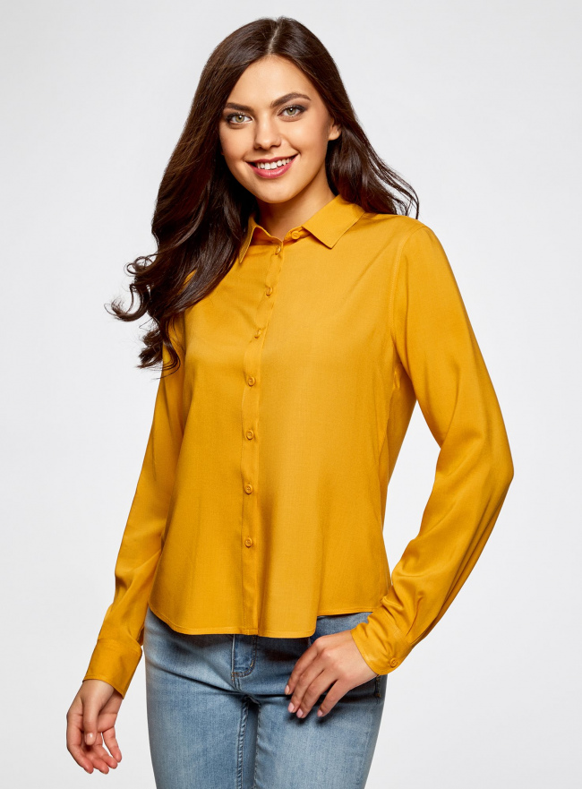 Блузка базовая из вискозы oodji для женщины (желтый), 11411136B/26346/5200N