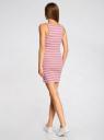 Платье трикотажное в полоску oodji для женщины (розовый), 59801007/42806/4D10S