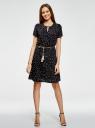 Платье с вырезом-капелькой и поясом на резинке oodji #SECTION_NAME# (черный), 11913043/46633/2957G - вид 2