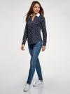 Блузка хлопковая с нагрудным карманом oodji #SECTION_NAME# (синий), 13K03017/26357/7910O - вид 6