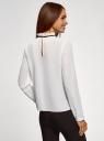 Блузка с декоративными завязками и оборками на воротнике oodji #SECTION_NAME# (белый), 11411091-2/36215/1200B - вид 3