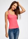Майка-борцовка с люверсами на лямках oodji для женщины (розовый), 24305006B/46164/4D00N