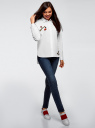 Рубашка свободного силуэта с декором oodji #SECTION_NAME# (белый), 13K11012/36217/1000N - вид 6