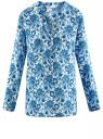 Блузка принтованная из вискозы oodji #SECTION_NAME# (синий), 21412143/42127/1075E