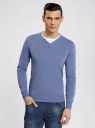 Пуловер с хлопковой вставкой на груди oodji #SECTION_NAME# (синий), 4B212006M/39245N/7410B - вид 2