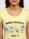 Пижама хлопковая с брюками oodji для женщины (желтый), 56002074-1/46158/5025P - вид 4