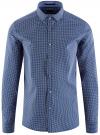 Рубашка приталенного силуэта принтованная oodji #SECTION_NAME# (синий), 3L110260M/19370N/1079G