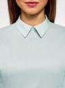 Блузка хлопковая с баской oodji #SECTION_NAME# (зеленый), 13K00001-1B/42083/6500N - вид 4