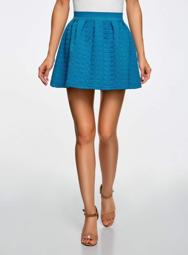 Юбка из фактурной ткани на эластичном поясе oodji #SECTION_NAME# (синий), 14100019-3/46005/7500N