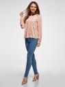 Блузка прямого силуэта с отложным воротником oodji #SECTION_NAME# (розовый), 11411181/43414/4029U - вид 6