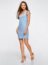 Платье трикотажное с V-образным вырезом oodji #SECTION_NAME# (синий), 14015004/45394/7000N - вид 6