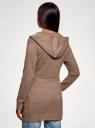 Кардиган меланжевый с капюшоном oodji для женщины (коричневый), 63207195/49408/3533M
