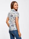 Блузка принтованная из легкой ткани oodji #SECTION_NAME# (белый), 21407022-9/12836/1019F - вид 3