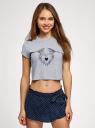 Пижама хлопковая с принтом oodji #SECTION_NAME# (серый), 56002230-1/46154/2079Z - вид 2