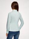Блузка хлопковая с баской oodji #SECTION_NAME# (зеленый), 13K00001-1B/42083/6500N - вид 3