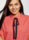 Блузка вискозная с завязками на воротнике oodji #SECTION_NAME# (розовый), 11405143/48458/4312O - вид 4