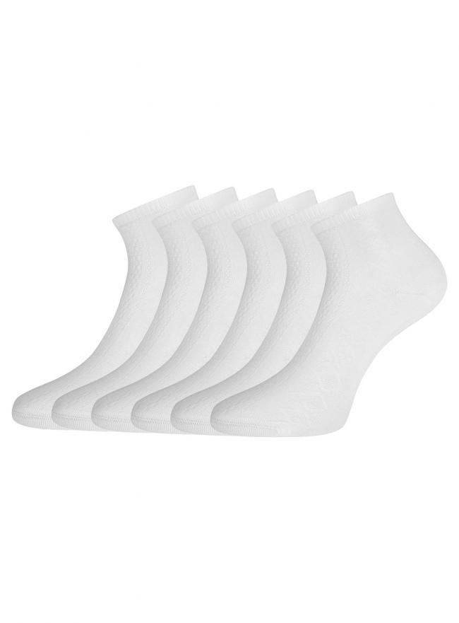 Комплект ажурных носков (6 пар) oodji для женщины (белый), 57102709T6/48022/1