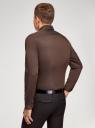 Рубашка базовая приталенная oodji #SECTION_NAME# (коричневый), 3B140002M/34146N/3900N - вид 3