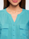 Блузка с короткими рукавами и нагрудными карманами oodji #SECTION_NAME# (бирюзовый), 21412132-2B/24681/7300N - вид 4