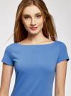 Платье трикотажное с вырезом-лодочкой oodji #SECTION_NAME# (синий), 14001117-2B/16564/7500N - вид 4