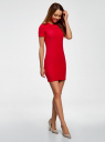 Платье трикотажное с коротким рукавом oodji #SECTION_NAME# (красный), 14011007/45262/4502N - вид 6