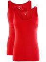 Комплект из двух базовых маек oodji для женщины (красный), 24315001T2/46147/4500N