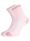 Комплект хлопковых носков в полоску (3 пары) oodji #SECTION_NAME# (разноцветный), 57102813T3/48022/20 - вид 2