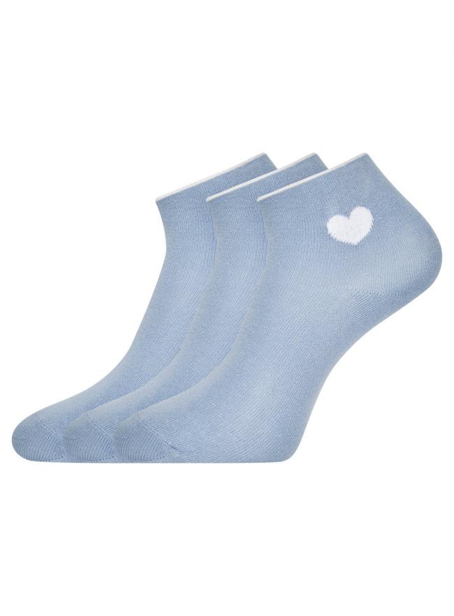 Комплект из трех пар хлопковых носков oodji #SECTION_NAME# (синий), 57102705T3/48022/15