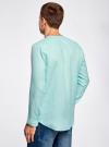Рубашка льняная без воротника oodji #SECTION_NAME# (бирюзовый), 3B320002M/21155N/7301N - вид 3