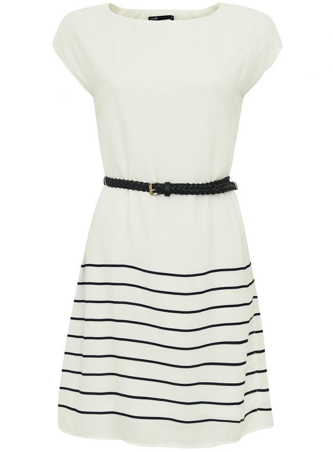 Платье принтованное с плетеным ремнем oodji для женщины (белый), 21900128/35542/1279S