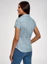 Рубашка хлопковая с коротким рукавом oodji #SECTION_NAME# (синий), 13K01004-1B/14885/6575O - вид 3