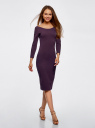 Платье облегающее с вырезом-лодочкой oodji #SECTION_NAME# (фиолетовый), 14017001-6B/47420/8801N - вид 6