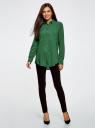 Блузка базовая из вискозы с карманами oodji для женщины (зеленый), 11400355-4/26346/6E00N