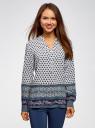 Блузка прямого силуэта с V-образным вырезом oodji #SECTION_NAME# (разноцветный), 21400394-3/24681/1279E - вид 2