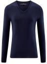 Пуловер базовый из вискозы с V-образным вырезом oodji #SECTION_NAME# (синий), 4L212140M/39795N/7900N