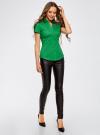 Рубашка с V-образным вырезом и отложным воротником oodji #SECTION_NAME# (зеленый), 11402087/35527/6D00N - вид 6