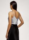 Топ на бретелях из струящейся ткани oodji для женщины (серый), 14901426/50157/2300N
