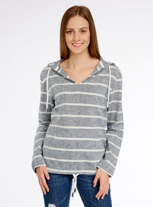 Блуза льняная с капюшоном oodji для женщины (синий), 21400350-1/35534/7912S