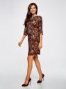 Платье принтованное прямого силуэта oodji #SECTION_NAME# (коричневый), 21900322-1/42913/4954F - вид 6