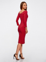 Платье облегающее с вырезом-лодочкой oodji #SECTION_NAME# (красный), 14017001-6B/47420/4500N - вид 3
