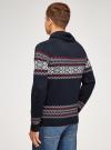 Пуловер вязаный с отложным воротником oodji для мужчины (синий), 4L205025M/25365N/7945N - вид 3