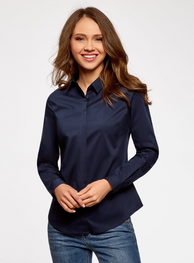 Рубашка базовая приталенного силуэта oodji для женщины (синий), 13K03003B/42083/7900N