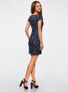 Платье трикотажное с принтом oodji #SECTION_NAME# (синий), 14001117-2/16564/7975E - вид 3