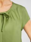 Блузка свободного силуэта с бантом oodji #SECTION_NAME# (зеленый), 11411154/24681/6200N - вид 5