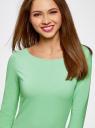 Платье трикотажное базовое oodji #SECTION_NAME# (зеленый), 14001071-2B/46148/6500N - вид 4