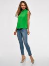 Блузка базовая без рукавов с воротником oodji #SECTION_NAME# (зеленый), 11411084B/43414/6A01N - вид 6